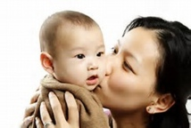 happy mother & infant asian